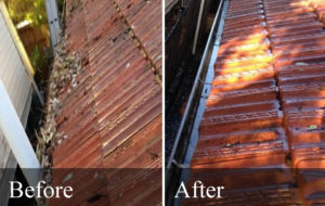 Before and after shot of gutter cleaning.