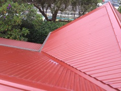 A red metal roof.